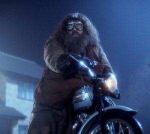 Hagrid on the borrowed motorbike